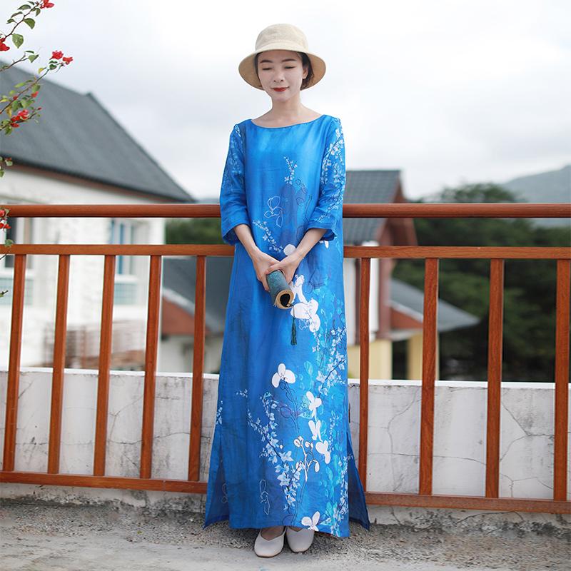 民族风连衣裙女装纯苎麻高端中长款2020春夏新款文艺中国棉麻长裙