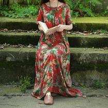 乱在江南棉麻印花裙原创品牌民族风连衣裙复古长裙2021夏季女装