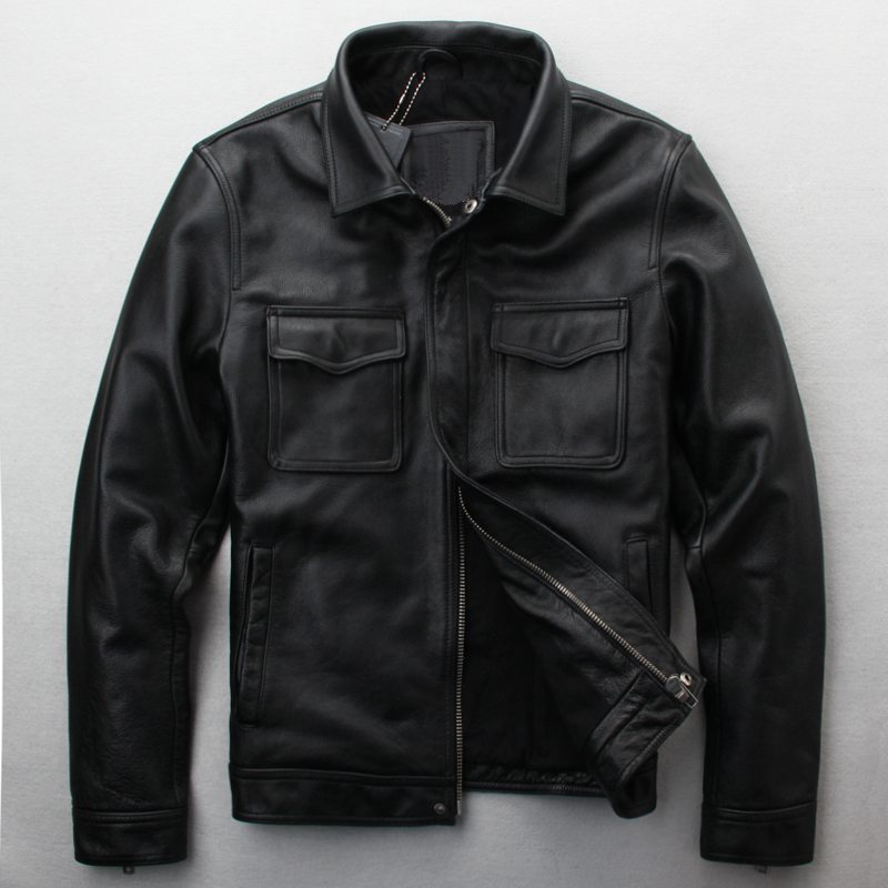 Special price clearance leather leather suit mens slim Lapel Amerika Vintage Motorcycle suit leather jacket