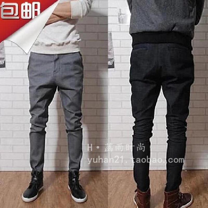Summer new Korean mens casual pants slim tapered Leggings loose Harun pants mens trendy big elastic
