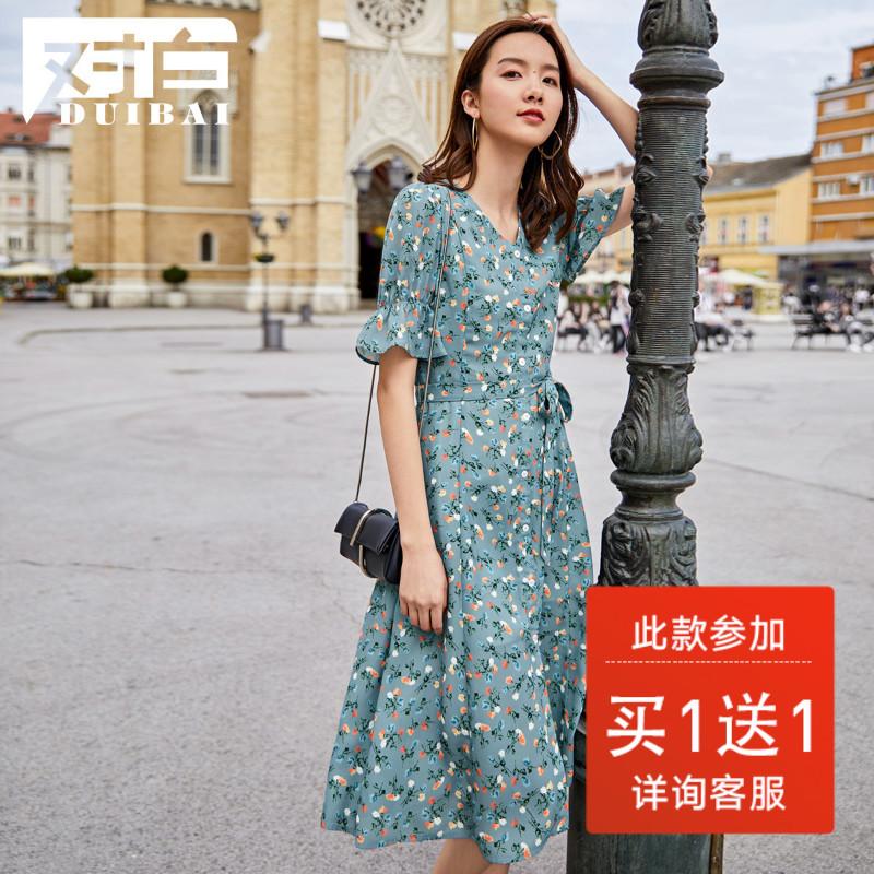 对白V领桔梗碎花雪纺连衣裙女2019新款夏法式智熏荷叶袖茶歇裙D2(非品牌)