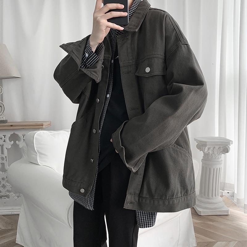 港风秋季男士宽松水洗牛仔外套韩版潮流百搭夹克上衣HY02TP60控78