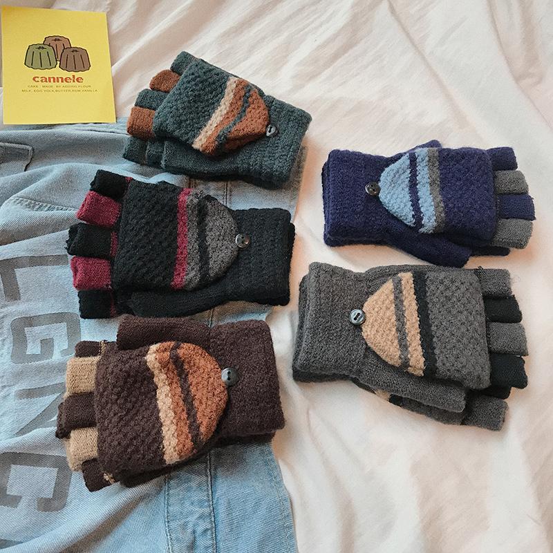 手套男士冬季保暖简约学生写字加厚针织毛线半指手套冬天W32P10