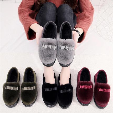 2018新款女鞋秋冬季加绒毛毛鞋豆豆鞋女韩版百搭学生平底保暖棉鞋