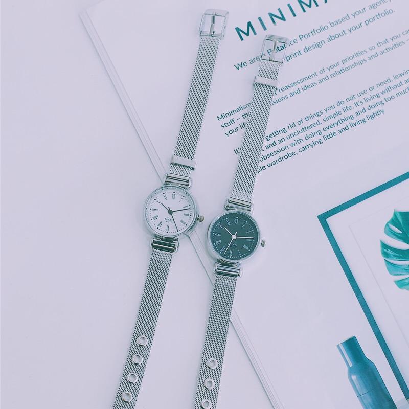 银色钢带手表女气质小表盘复古森女系小清新学院风中学生韩版简约