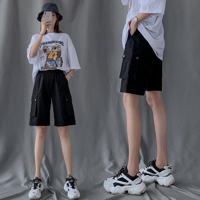 工裝短褲女夏季2020年新款寬松直筒潮ins中褲高腰港味運動五分褲