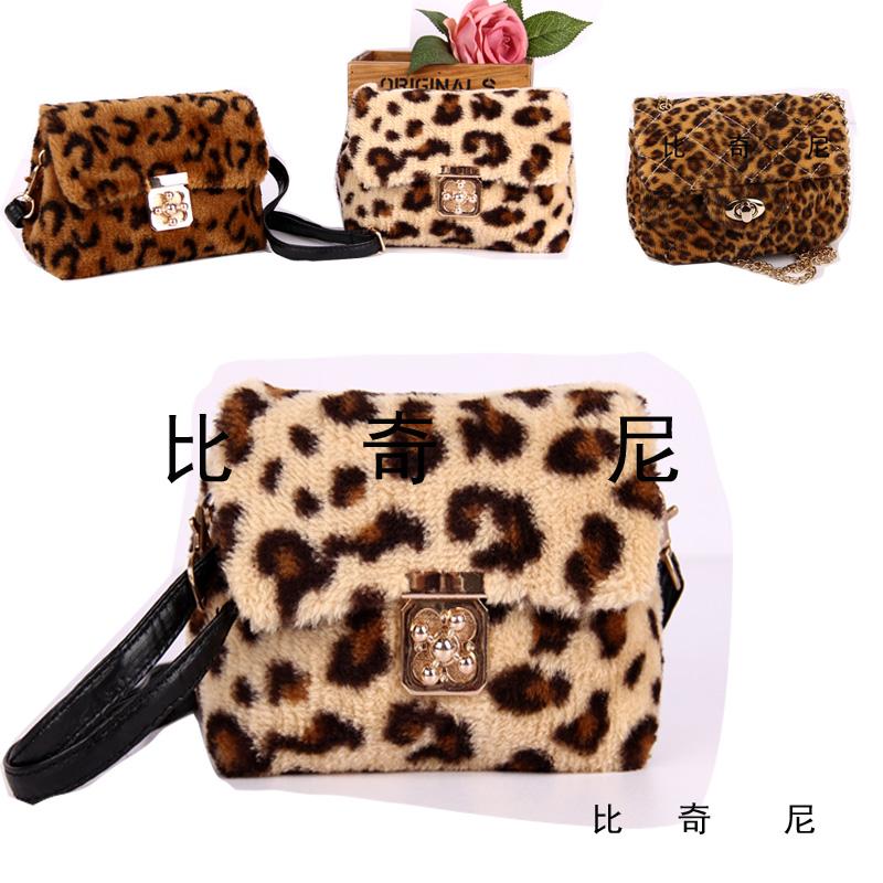 Biccini Грейс стиль детей сумки Диагональ пакет корейской моды леопарда печати плюша девочек оптом
