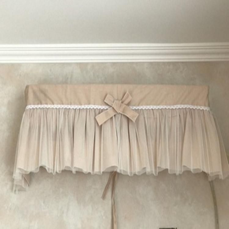 公主浅驼色纯棉布艺蕾白纱挂机空调罩防尘罩卧室客厅1.5