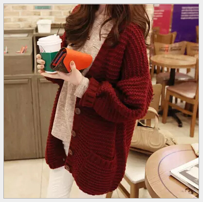 Autumn and winter womens clothing Korean new loose blended womens sweater jacket long thick woolen cardigan promotion