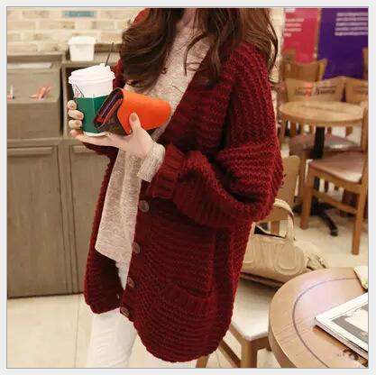秋冬季女装韩版新款宽松混纺女毛衣外套中长款厚实毛织开襟衫促销