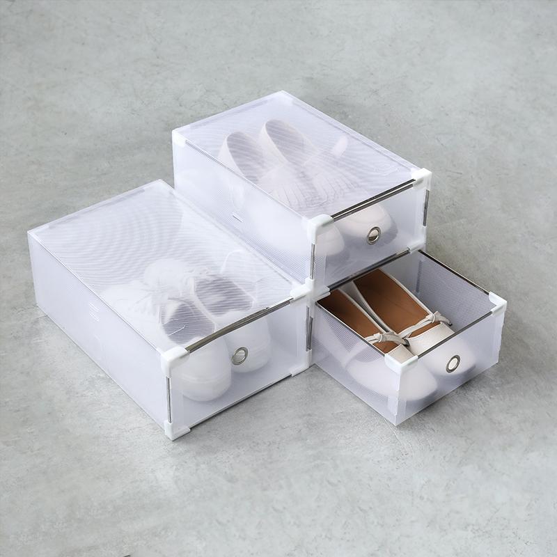 简易日式 半透明加厚塑料PP男女鞋盒 防尘抽屉式家用组合装收纳盒