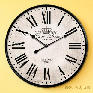 Continental Mediterranean retro fashion creative living room hanging clocks large queen wrought iron wall clock mute hanging Table Specials