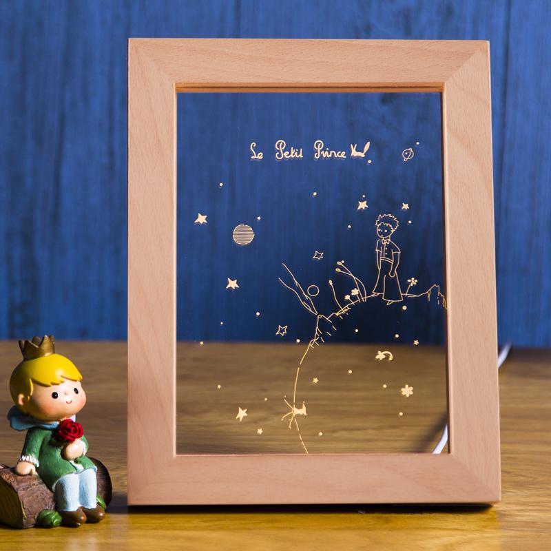 北欧创意生日礼品灯人气相框台灯小王子看日落LED小夜灯圣诞礼物