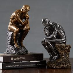 创意人物雕塑思考者沉思者摆件客厅书房样板房办公室装饰品小摆设