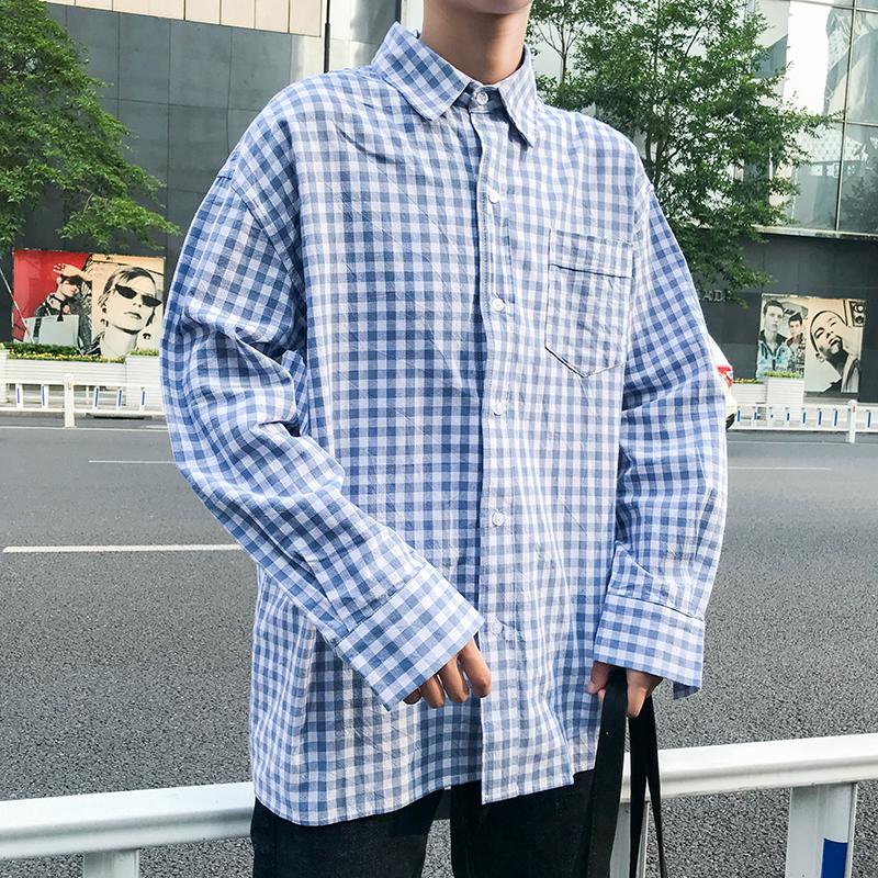 2019经典宽松千鸟格衬衣男韩版百搭格子休闲衬衫学生衬衫SD301P35