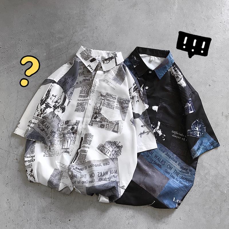 港风复古翻领衬衫冬季男士休闲衬衣韩版潮流宽松寸衫A079SD516P45