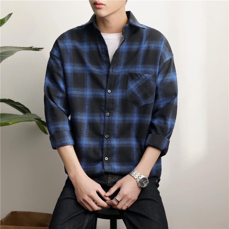 2019春装格子男士保暖长袖衬衫SD31P30文艺时尚休闲韩版男装