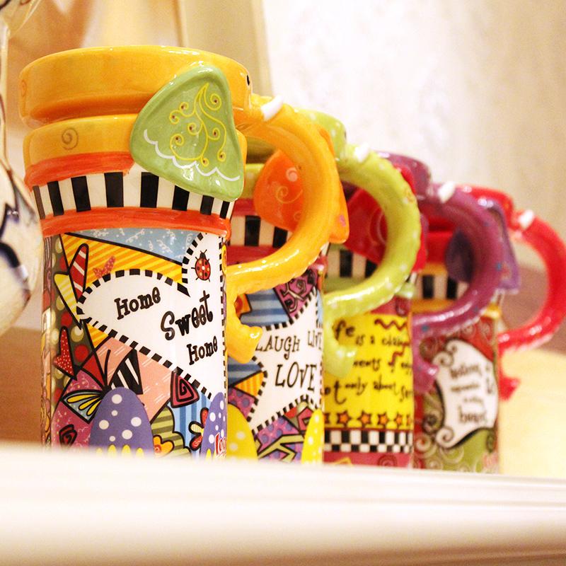 仟度彩绘大象杯 可爱动物马克杯带盖带勺陶瓷咖啡杯 创意情侣水杯11月07日最新优惠