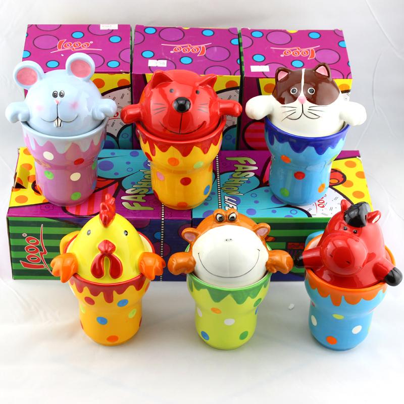 仟度 彩繪杯 可愛動物馬克杯 大容量陶瓷水杯 情侶兒童牛奶咖啡杯