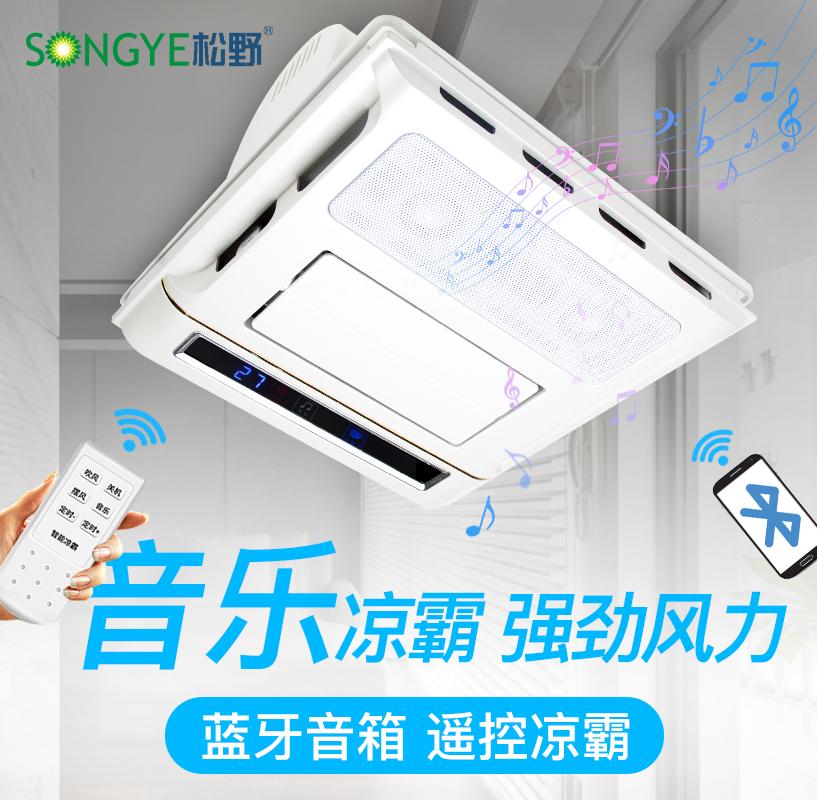 松野厨房凉霸带灯集成吊顶电风扇卫生间吸顶式带音箱超遥控薄冷霸