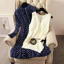 连衣裙女秋装新款波点显瘦收腰蝴蝶结荷叶边针织马甲背心两件套裙