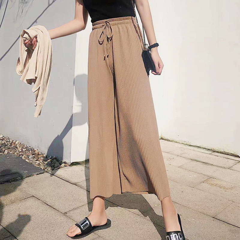 Pleated knitted wide leg pants womens high waist nine Fen spring and summer chic loose students elastic waist casual pants straight tube