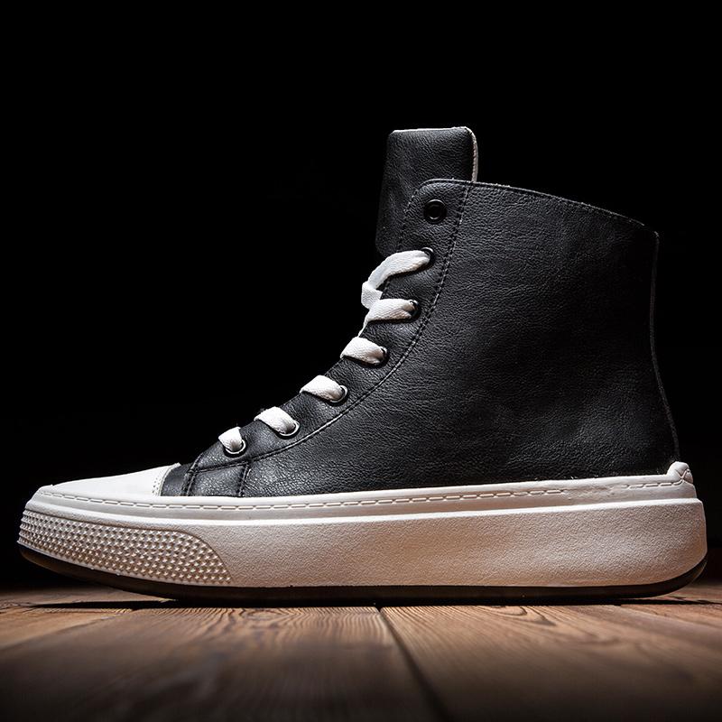 2019欧洲同款高帮板鞋轻便厚底个性潮鞋黑色运动休闲鞋男鞋子增高