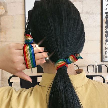 韩国东大门彩虹发绳橡皮筋发饰可爱扎头发豹纹发圈头绳女高弹力