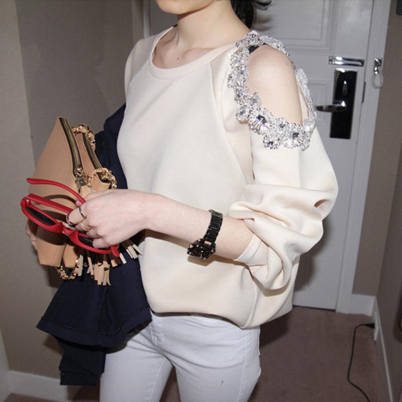 Weiyi nvchun 21 new Korean dongdamen thin, loose and versatile sleeve with diamond off shoulder space cotton top fashion