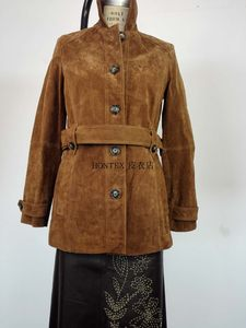 2018新款MK欧洲站进口猪皮绒面真皮皮衣女腰带风衣显瘦夹克外套