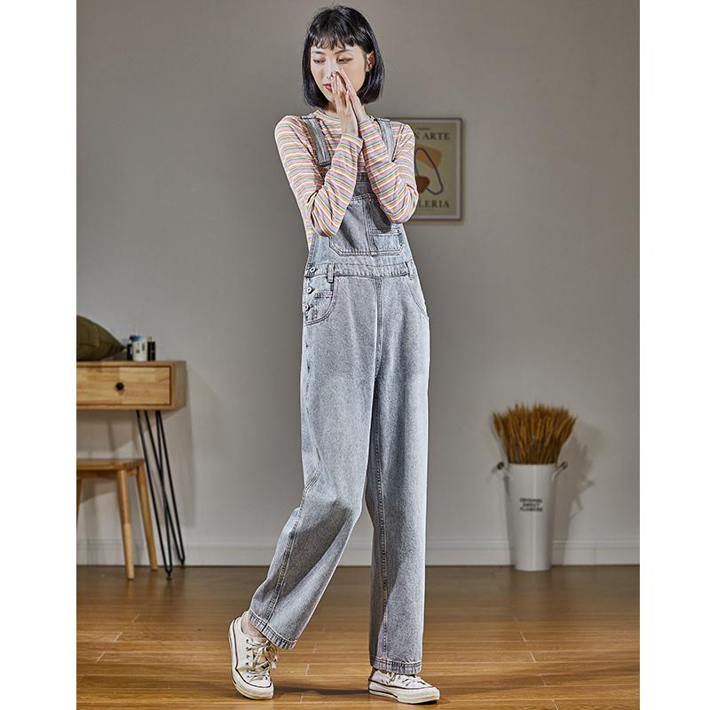 唐狮2020秋季新款时尚牛仔裤女韩版宽松直筒显瘦百搭背带裤女Z