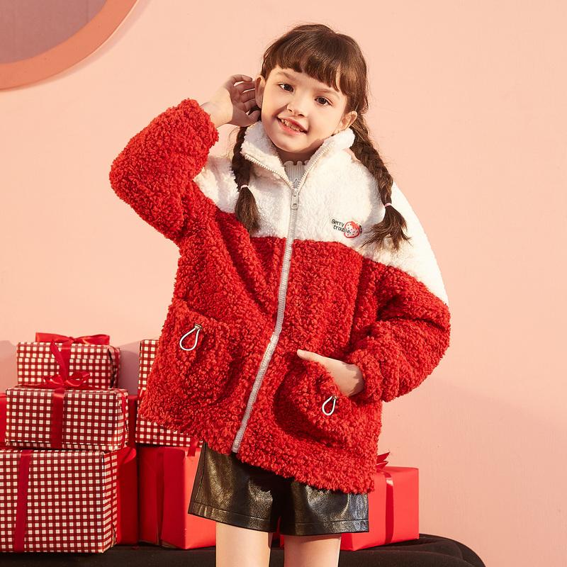 唐狮童装2020新款女童外套秋冬加绒加厚红色羊羔毛绒中大儿童韩版