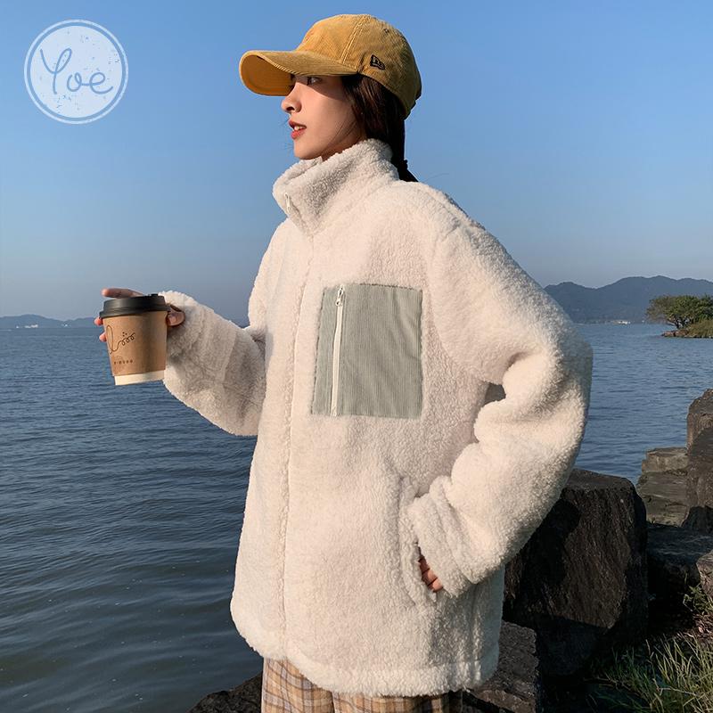 yoe外套女21秋冬新款仿羊羔毛上衣潮韩版时尚设计感宽松休闲学生