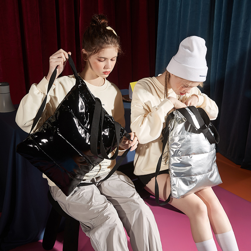 唐狮2020新款潮流秋冬季夹棉羽绒双肩包时尚单肩包挎包背包女学生