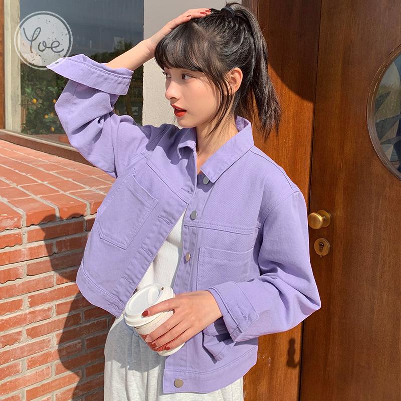 yoe短款外套女2021秋季新款彩色牛仔复古港风小个子休闲韩版宽松