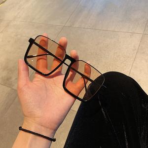 韩版个性网红款超大框方框眼镜女潮百搭街拍墨镜圆脸显脸小太阳镜