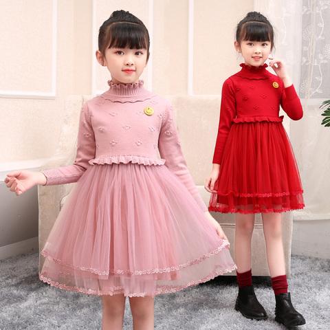 女童秋冬装新年洋气儿童连衣裙子针织羊毛衣长袖小女孩公主裙加绒