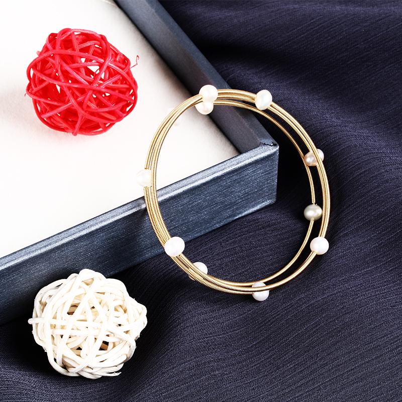 正品天然淡水珍珠多层缠绕手镯小众设计14K金开口可调节简约双层