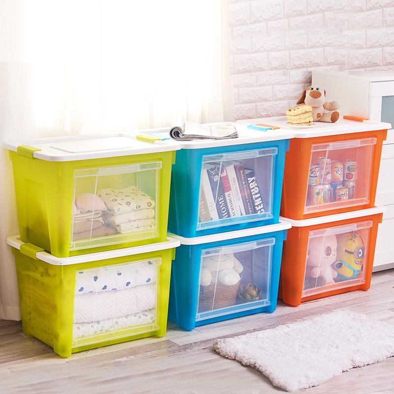 2个装 龙士达侧开式收纳箱塑料玩具 大号透明加厚有盖衣物整理箱