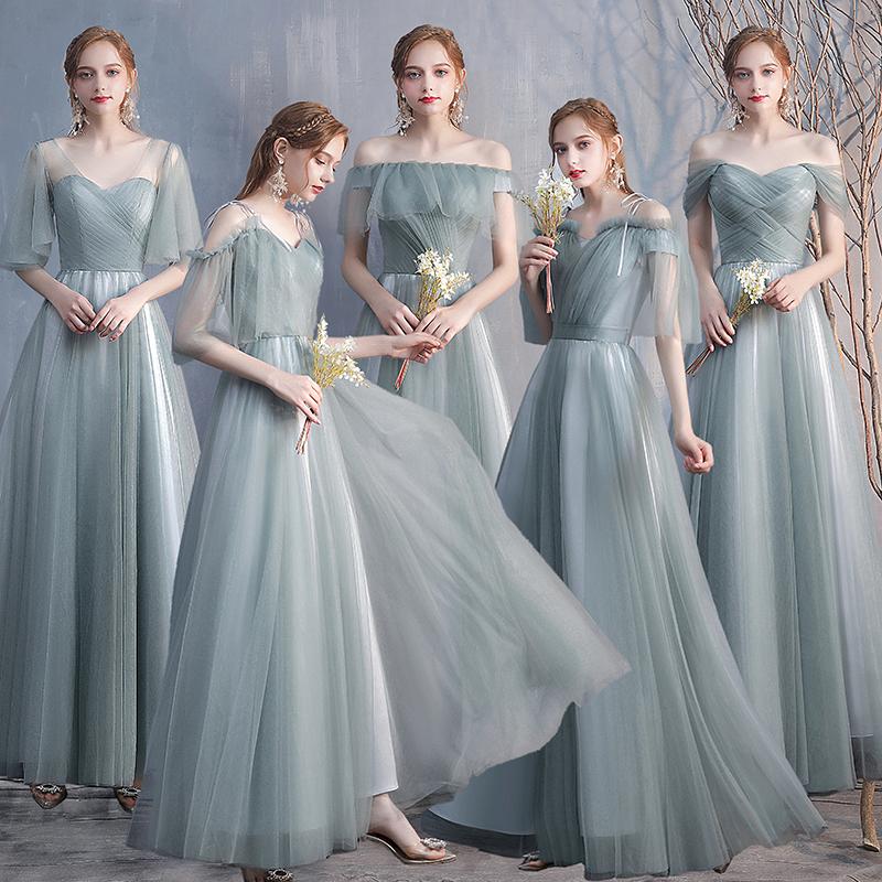 伴娘服2021新款春季森系仙气姐妹裙伴娘礼服长款修身宴会晚礼服女