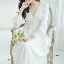 秋冬宫廷复古风甜美公主睡衣长袖长款性感V领吊带纯棉睡裙女