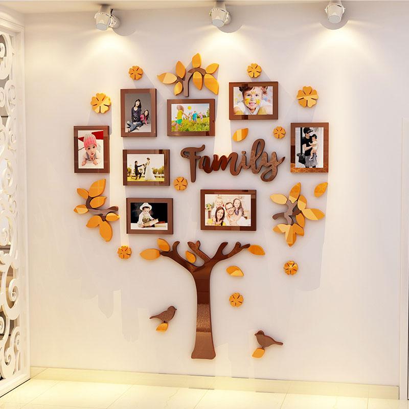 家庭树相框温馨3d立体客厅照片墙