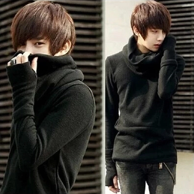 Spring and autumn thin bottomed sweater mens mittens high necked sweater Korean fashion mens coat