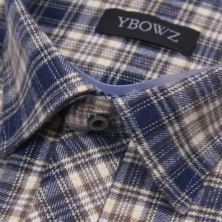 Spring and autumn casual Plaid Shirt Mens long sleeve pure cotton no iron middle-aged and old dads all cotton frosted thickened shirt
