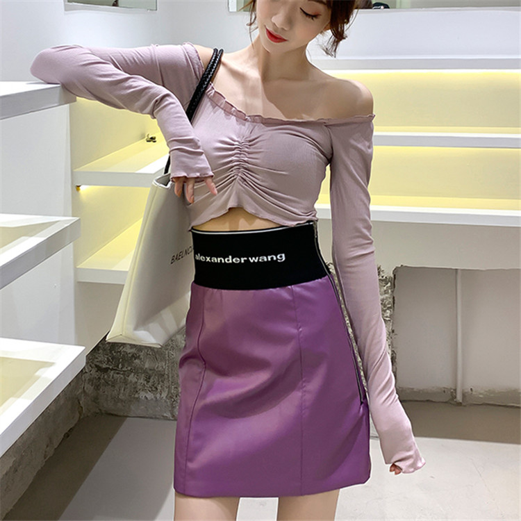 2020 four season net red one hundred style high waist elastic letter webbing side zipper Pu buttock womens short leather skirt