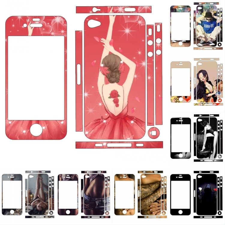 定制iphone4s钢化膜卡通膜苹果4手机后壳个性贴纸4代包边全身贴膜图片