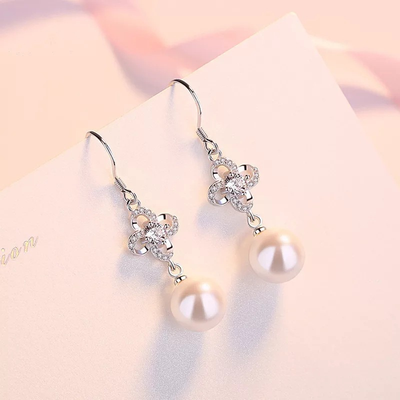 Korean S925 clover pearl long earrings inlaid with zircon
