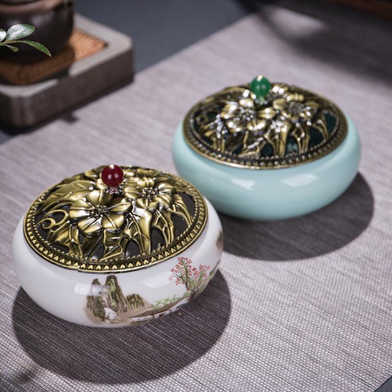 蚊香炉陶瓷创意香炉简约大号家用蚊香盒室内蚊香盘托线香插香摆件