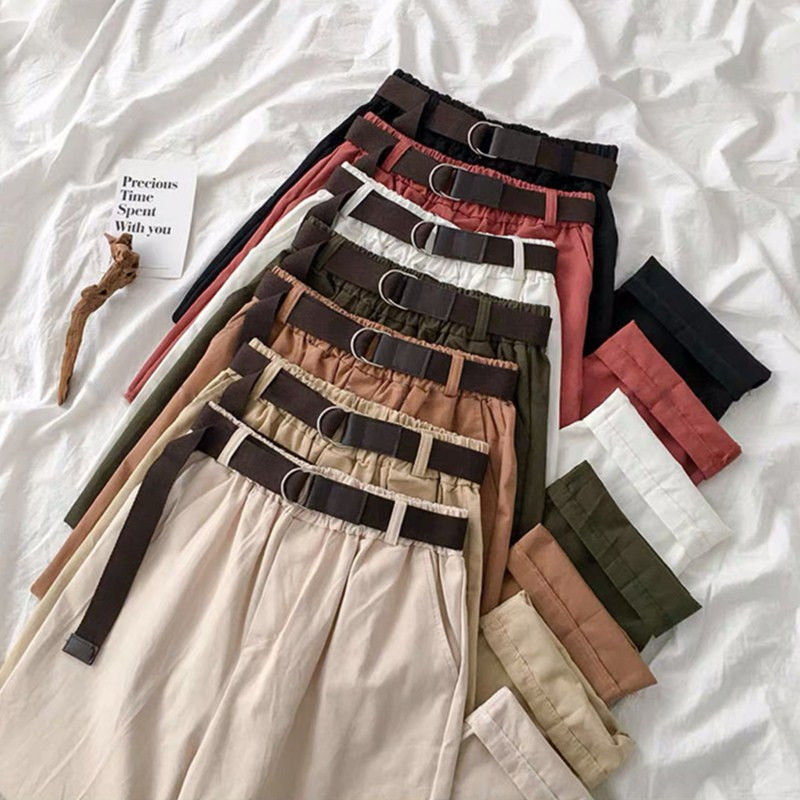 Send belt spring and summer new pants female students Korean loose large womens ins wide leg pants show thin overalls