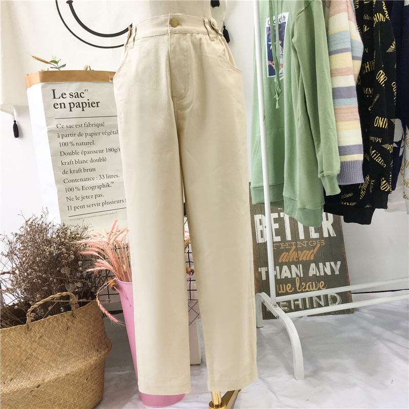 Large size autumn womens fat mm2019 Korean version high waist dad Pants Plus fat and big, and wear thin thigh thick pants